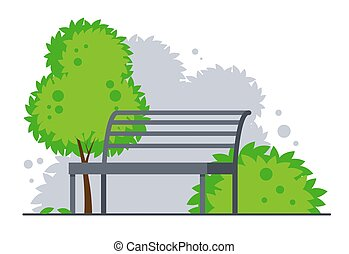 Bench in summer city park. Vector illustration isolated on white background.