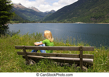 Bench in Swiss Alps