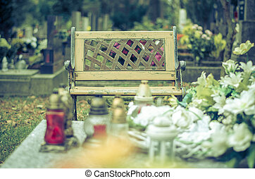 bench in the cemetery