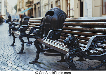 Bench in the center of Lviv
