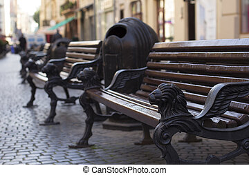 Bench in the historical center of Lviv