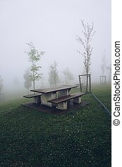 bench in the mountain