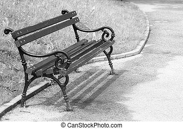 Bench in the park , artistick toned - Old wooden empty bench...