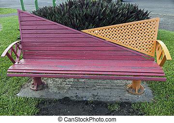 Colorful bench in the park - Suva, Fiji