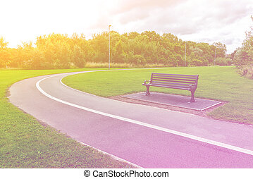Bench in the park with footpath