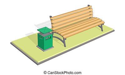 Bench in the park with litter bin (trash metal tank). A bench on