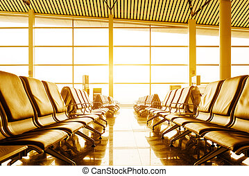 Bench in the shanghai pudong airport. interior of the ...