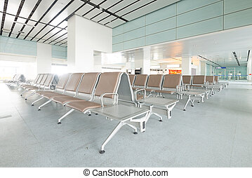 Bench in the shanghai pudong airport.interior of the...