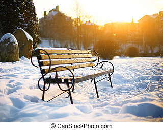 Bench in the winter city park