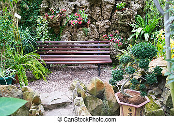 Bench in tropical park