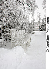 Bench in winter park