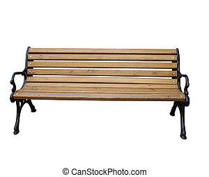 Isolated photos of garden or park wooden bench