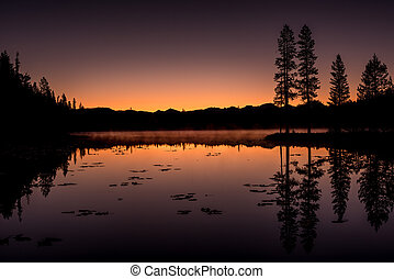 Idaho Lake with clearing fog and sunset colors