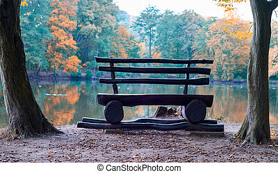 Bench on a autumn nature