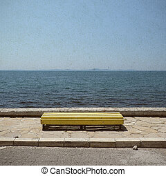Bench on blue sea background in retro style