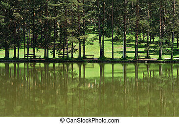 Bench on the bank of mountain lake in summer day