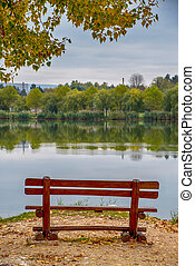 Bench on the lake shore