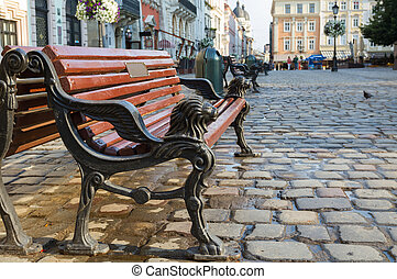 Bench on the Market Square in Lviv