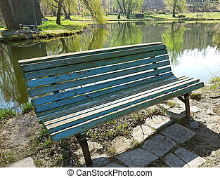 Bench on the shore of a lake
