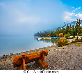 Bench on the shore of Pyramid Lake