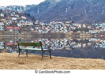 Bench on the shore Store Lungegardsvannet, Bergen, Norway
