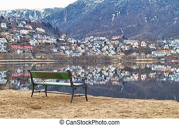 Bench on the shore Store Lungegardsvannet, Bergen, Norway