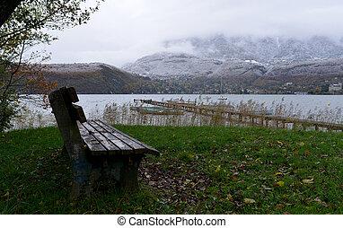 bench on the shores of the Lake