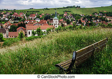 Bench on the top of hill