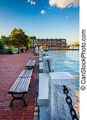 Bench on the waterfront in Boston, Massachusetts.