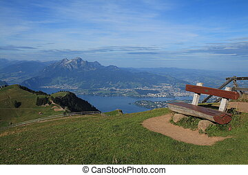 Summer scene on the Rigi. Distant view of Lucerne and Mt Pilatus.