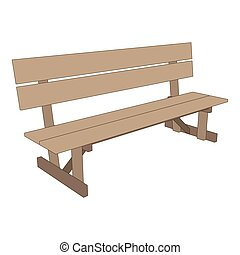 Bench park vector retro illustration white background isolated seat chair garden outdoor