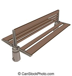 Bench park vector vintage isolated background wooden illustration old