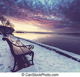 Bench - bench in winter