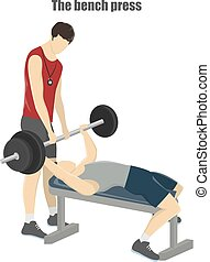 Bench press exercise. Fitness trainer helps man with...