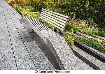 The High Line - Bench seen along The High Line Park in New ...