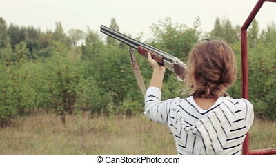 Girl shoots on plates