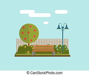 Bench under a tree in the park. Flat style vector illustration