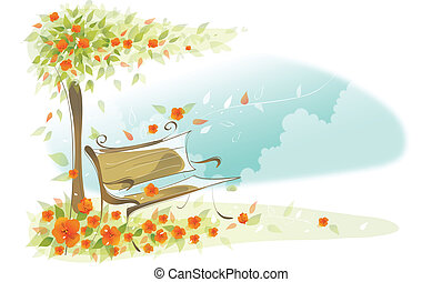 Bench under a tree - This illustration is a common cityscape...