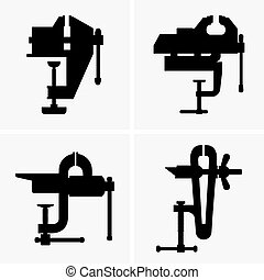 Bench vices - Set of four Bench vices