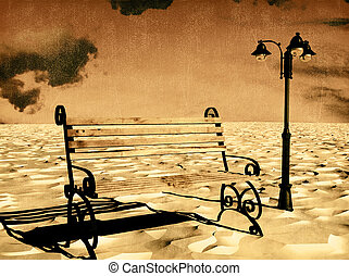 Bench with a flashlight under the old style photo