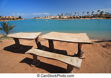 bench with a view over Mediterranean Sea