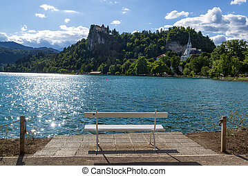 Bench with beautiful view on Bled lake