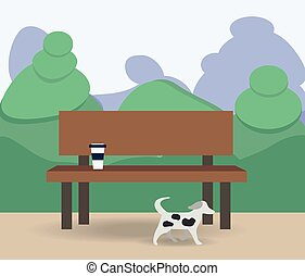 Bench with cup and books under a tree in the park. Flat style illustration.