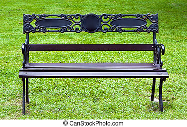 Bench with green grass