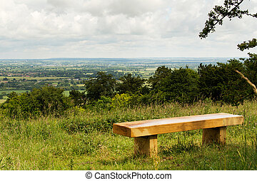 Bench with view over the Chilterns in Buckinghamshire,...