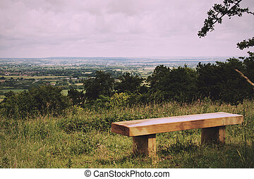 Bench with view over the Chilterns in Buckinghamshire...
