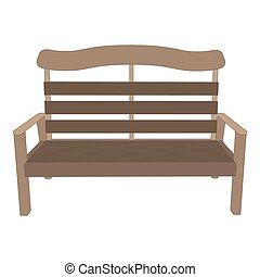 Bench wooden vector park background illustration view garden isolated
