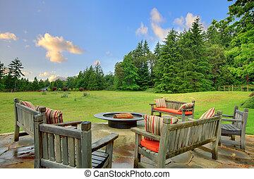 benches, природа, огонь, сидящий, зеленый, яма