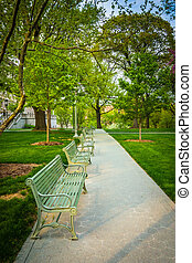 Benches along a path at the Capitol Complex in Harrisburg, Penns