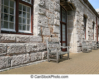 Benches and Stone Wall
